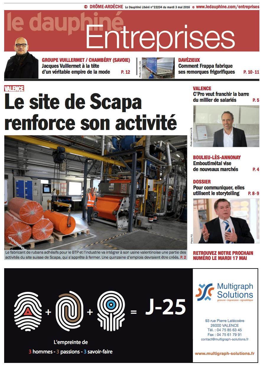 Parution dans le Dauphiné Entreprises du 03 mai 2016