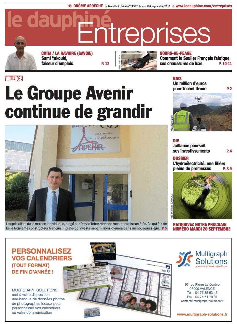 Parution dans le Dauphiné Entreprises du 06 septembre 2016