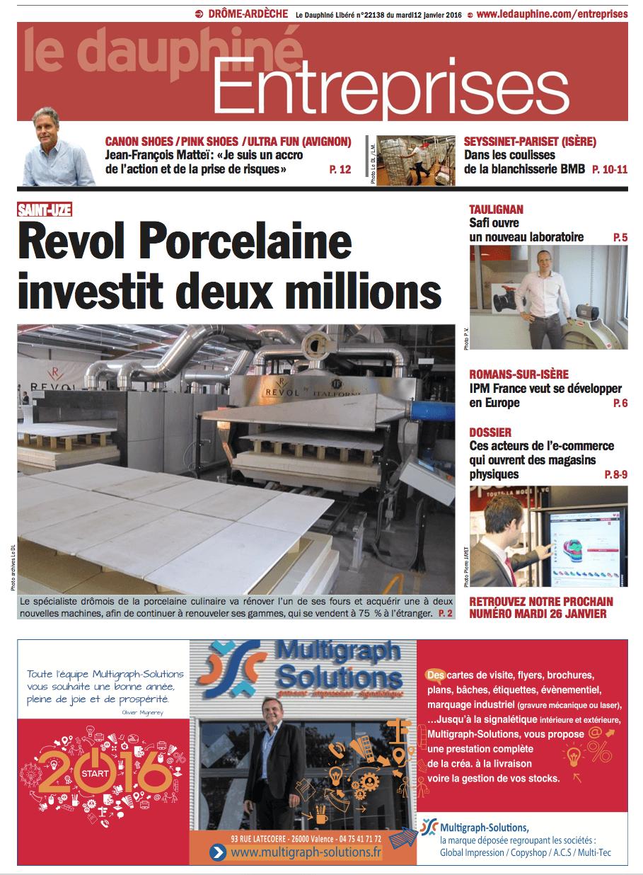 Parution dans le Dauphine Entreprises du 12 janvier 2016