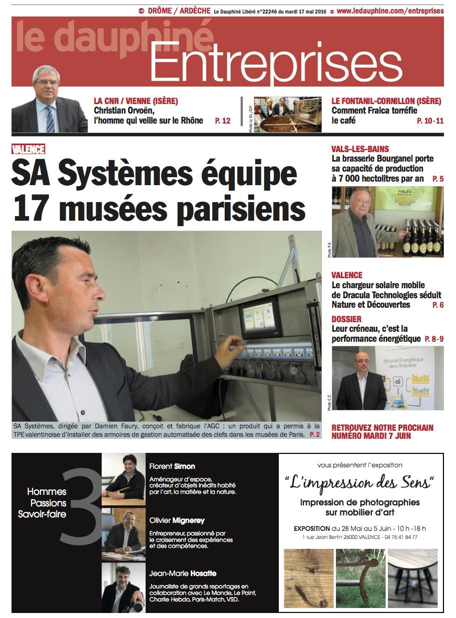 Parution dans le Dauphiné Entreprises du 17 mai 2016