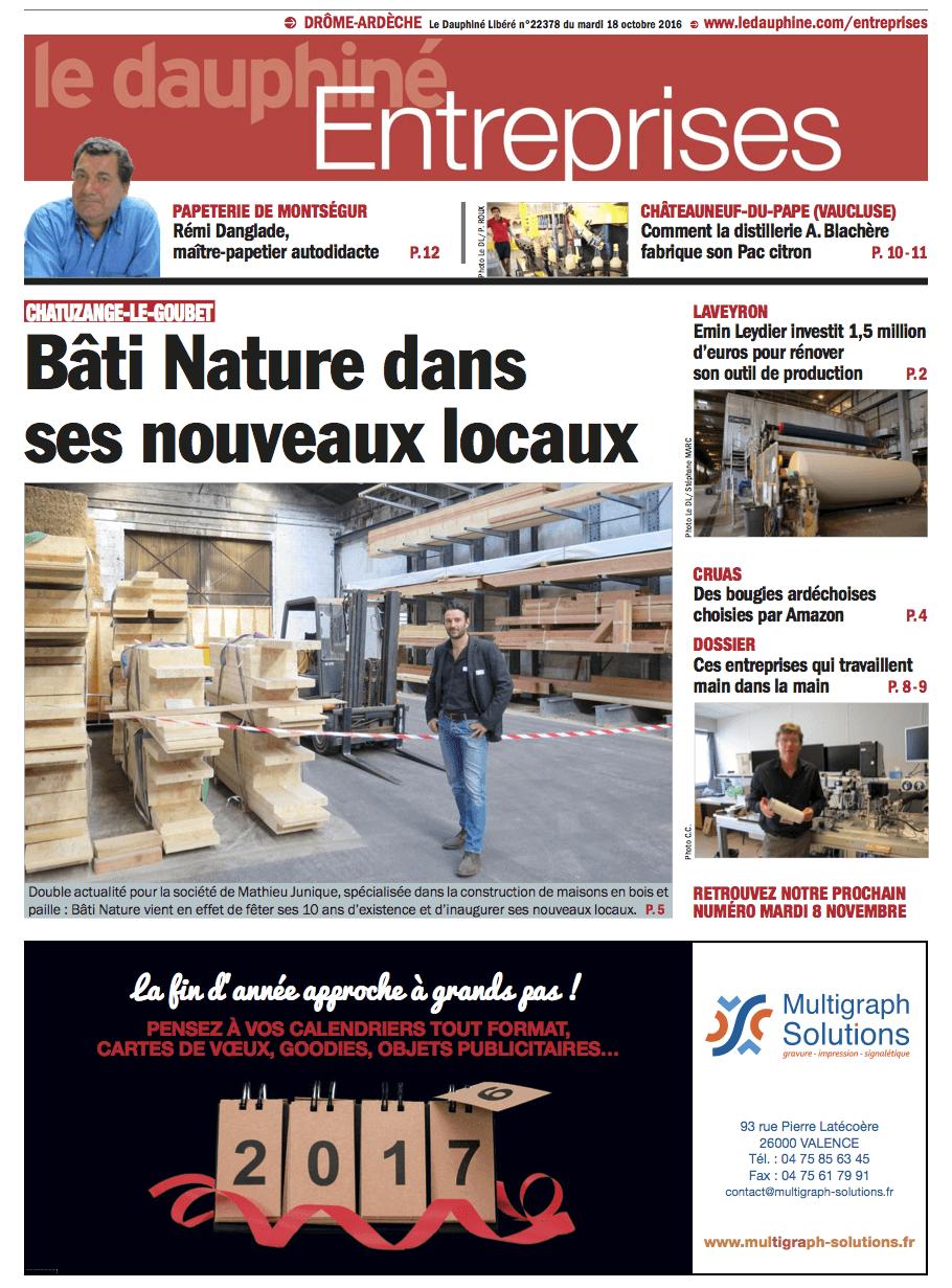 Parution dans le Dauphiné Entreprises du 18 octobre 2016