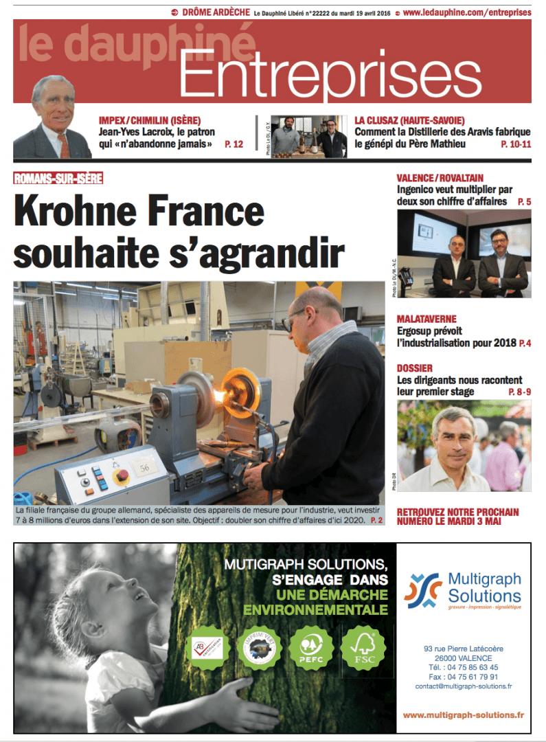 Parution dans le Dauphiné Entreprises du 19 avril 2016