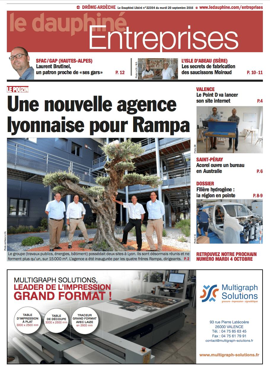 Parution dans le Dauphiné Entreprises du 20 septembre 2016