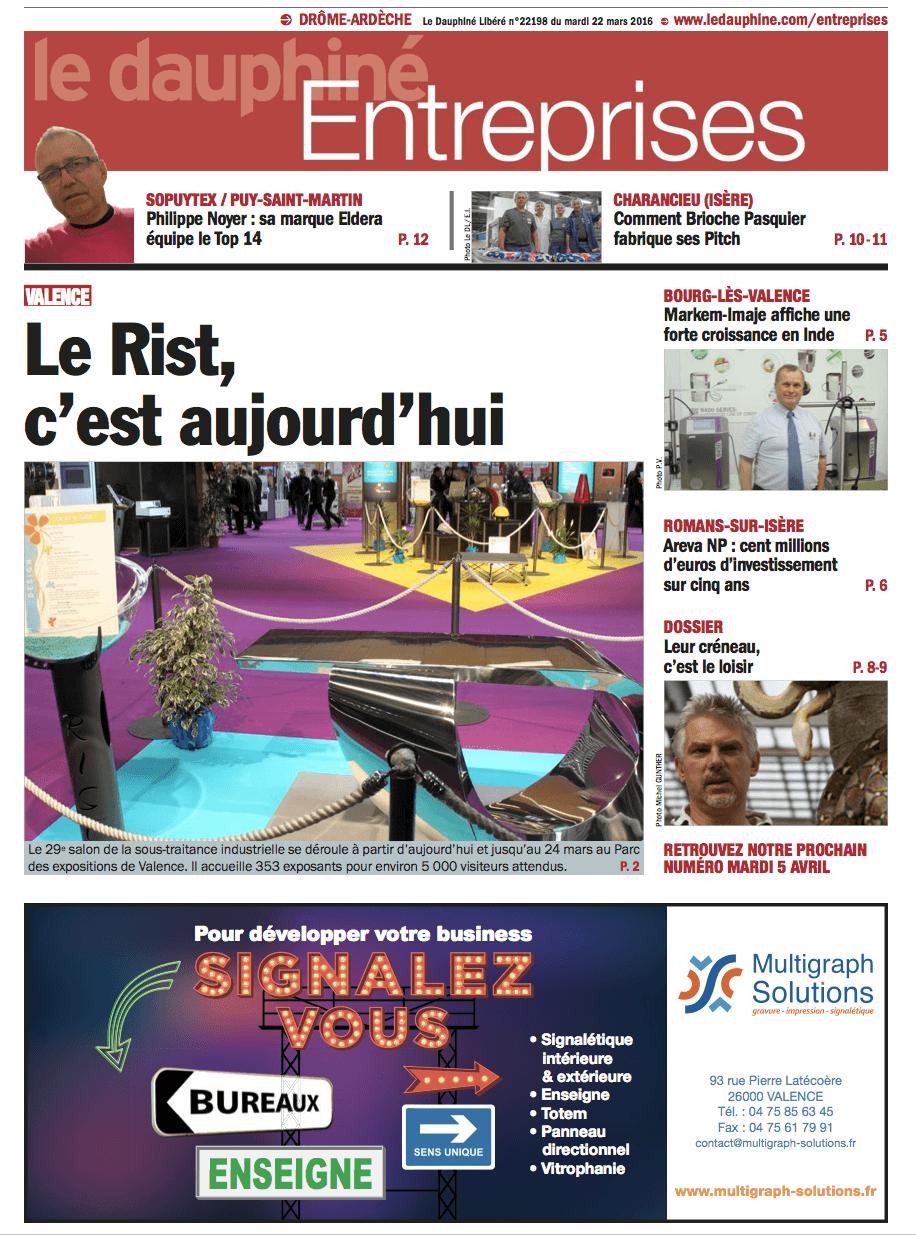 Parution dans le Dauphiné Entreprises du 22 mars 2016