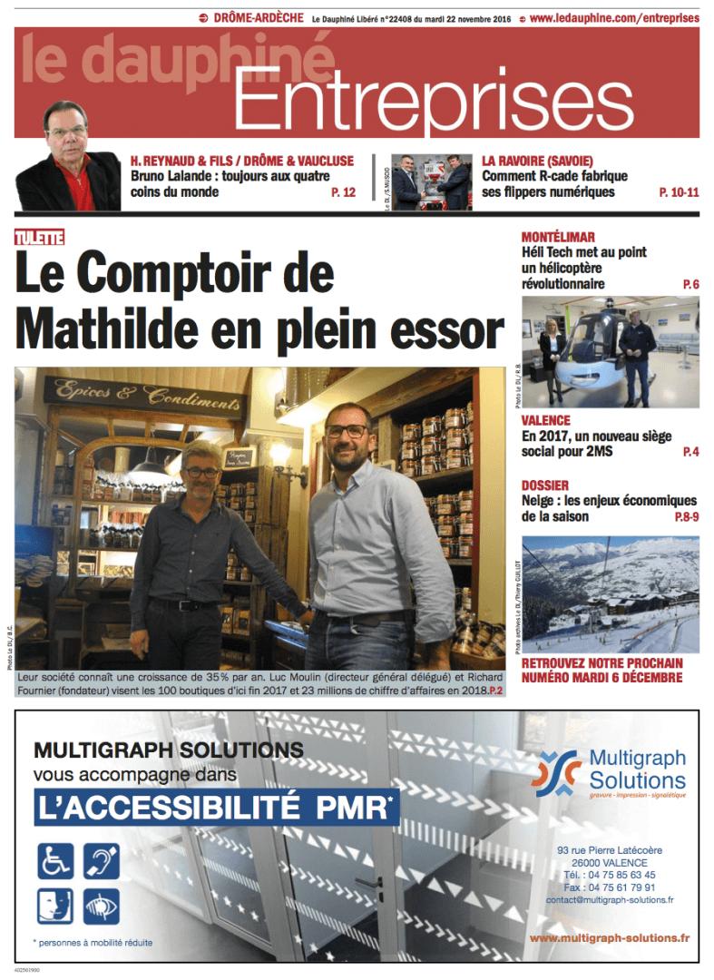 Parution dans le Dauphiné Entreprises du 22 novembre 2016