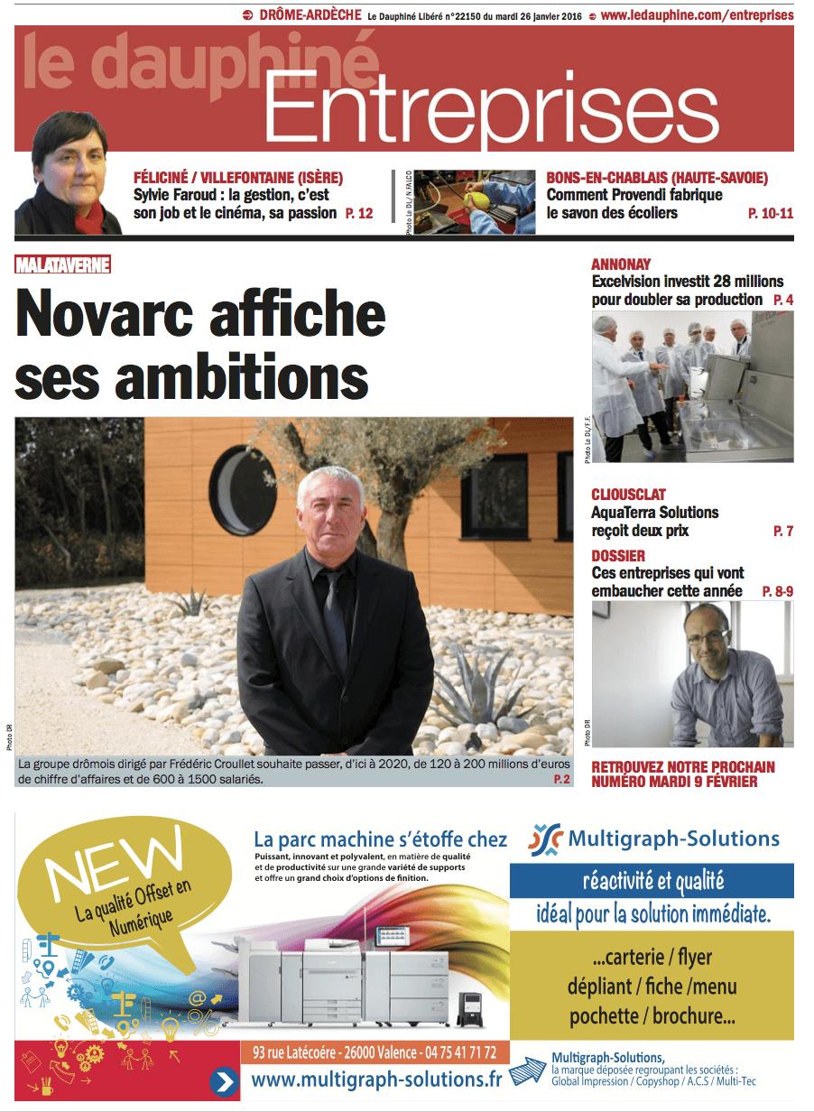 Parution dans le Dauphiné Entreprises du 26 janvier 2016